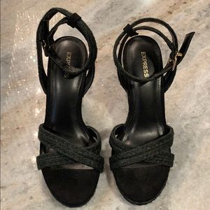 Express black espadrille wedges size 7 new w tags